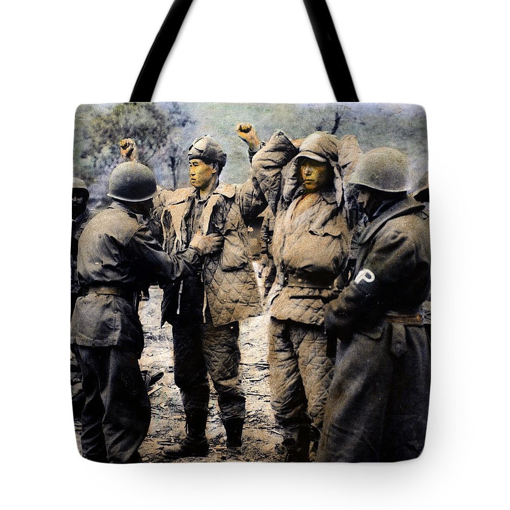 1950 Tote Bag featuring the photograph Korean War: Prisoners by Granger