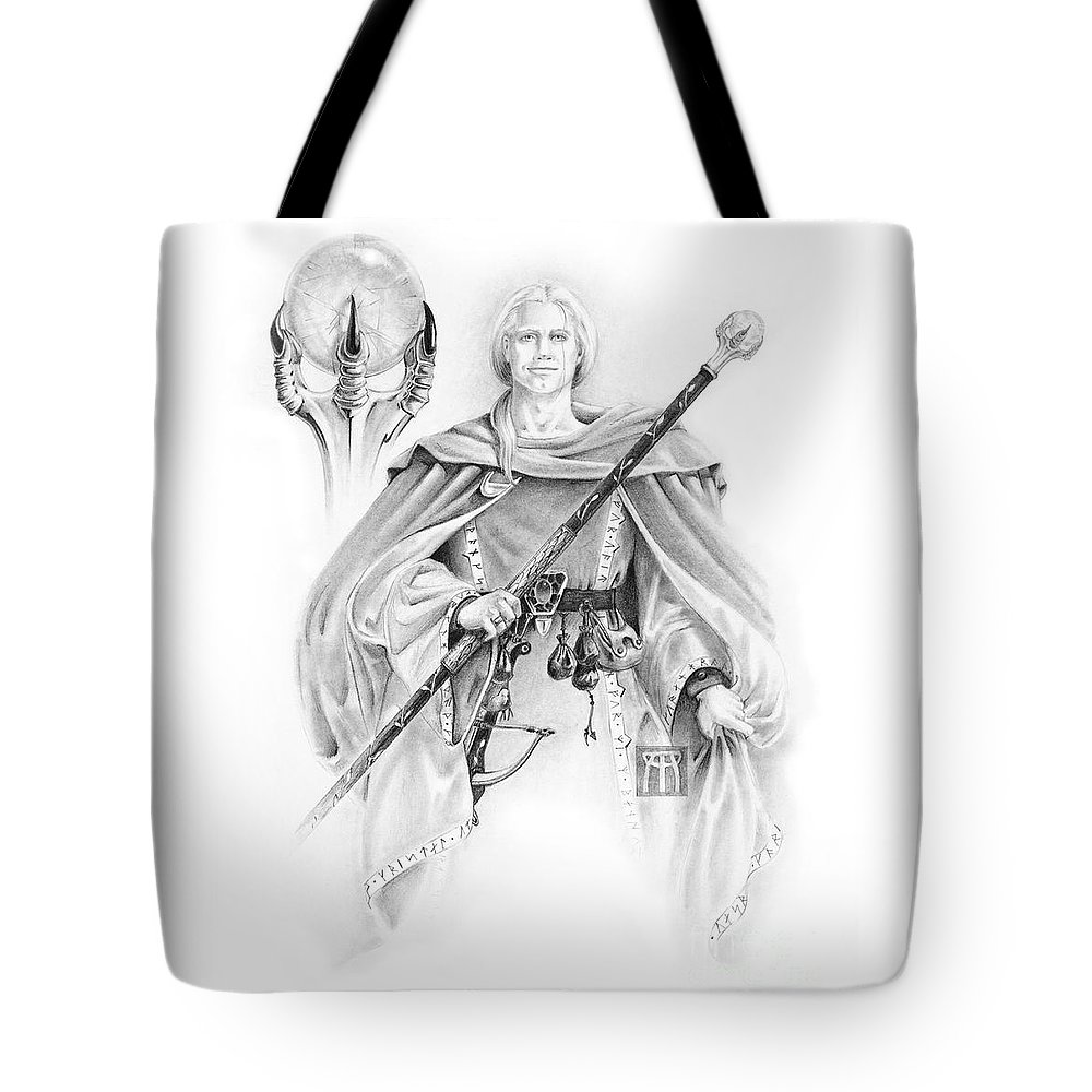Wizard Tote Bag featuring the drawing Korranderaythe Von Cristalvasser by Melissa A Benson