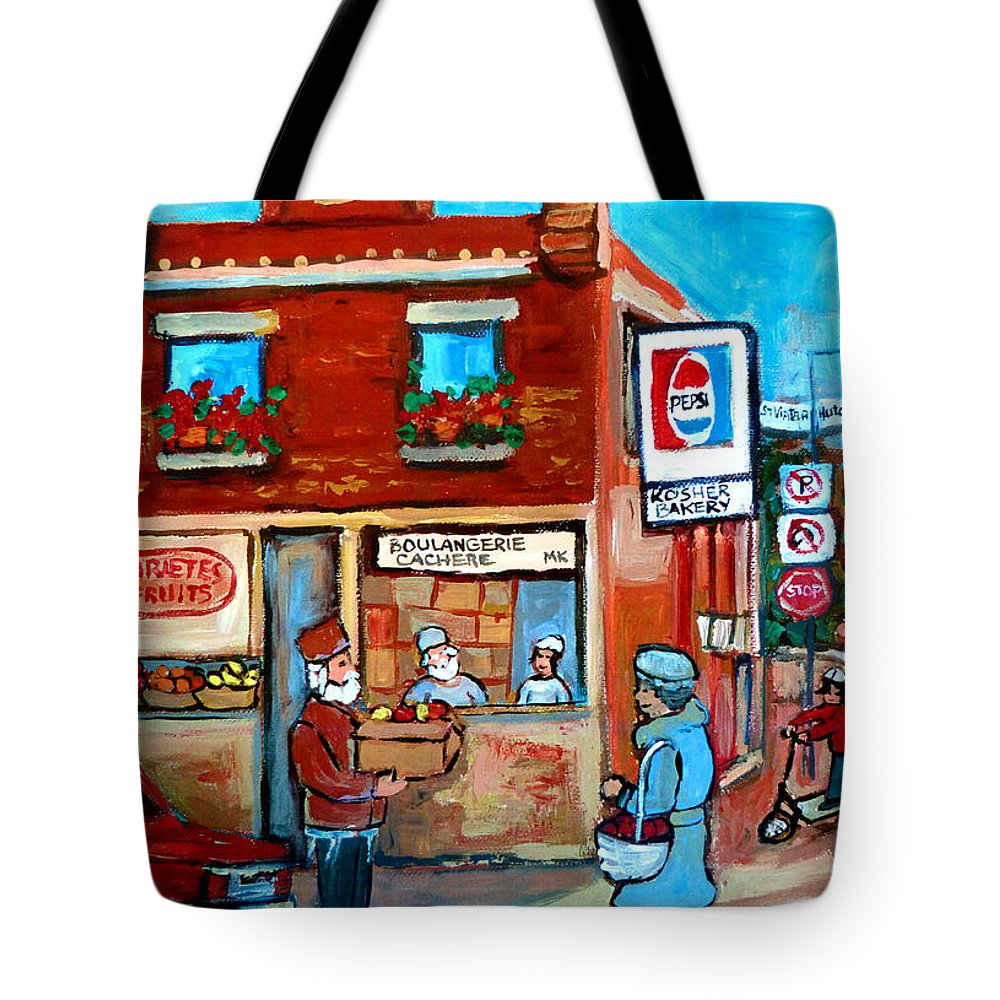 Kosher Bakery Tote Bag featuring the painting Kosher Bakery On Hutchison Street by Carole Spandau