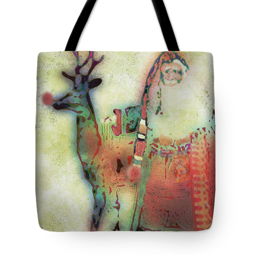 Santa Tote Bag featuring the digital art Kris And Rudolph by Arline Wagner