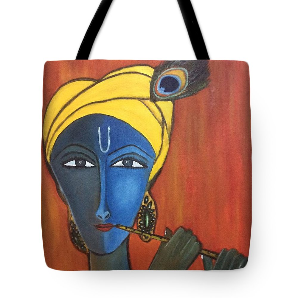 Krishna Tote Bag featuring the painting Krishna With Flute by Sreekala Nambiar