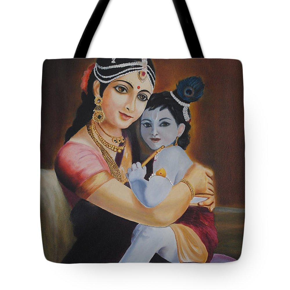 Krishna Tote Bag featuring the painting Krishna With Mother Yasoda by Sreekala Nambiar
