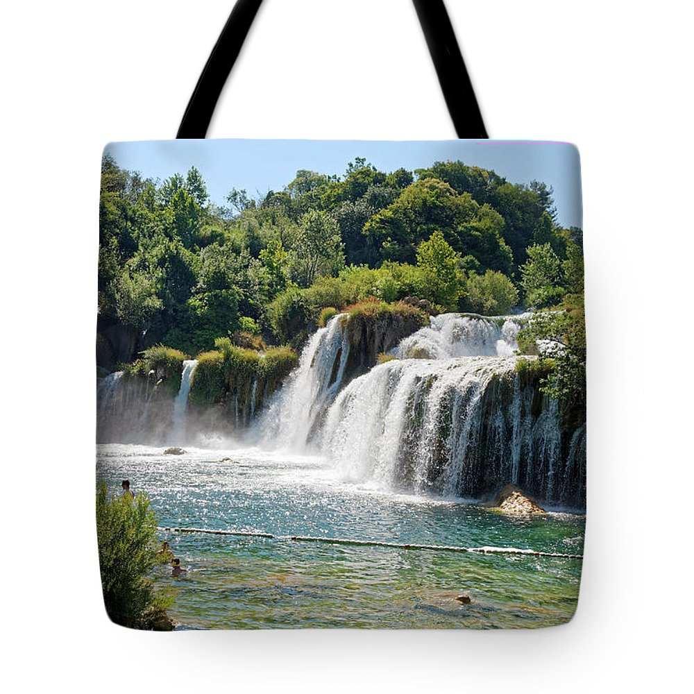 Waterfalls Tote Bag featuring the photograph Krka National Park Waterfalls 9 by Sally Weigand