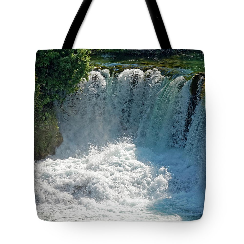 Waterfalls Tote Bag featuring the photograph Krka National Park Waterfalls by Sally Weigand