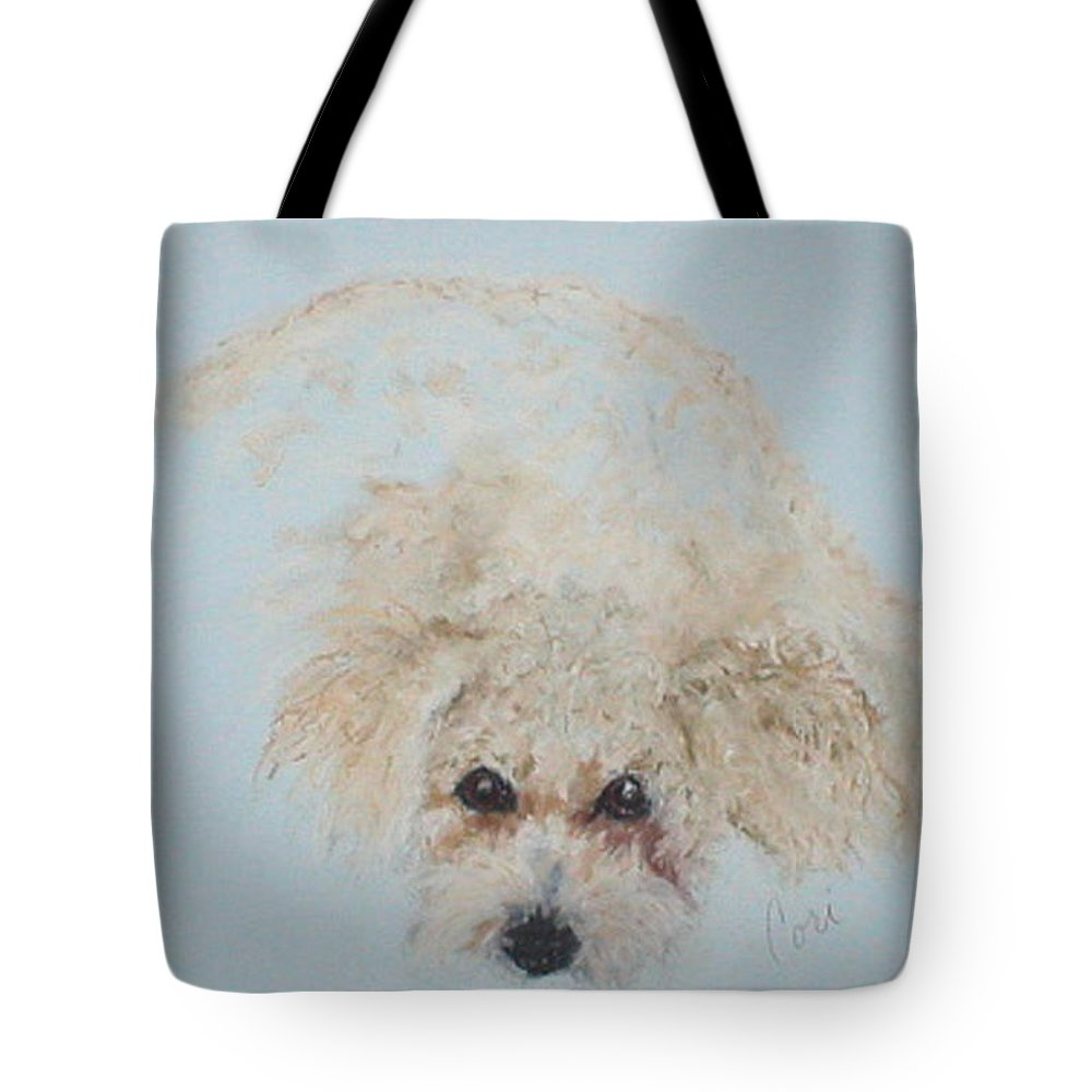 Dog Tote Bag featuring the drawing Kuku by Cori Solomon