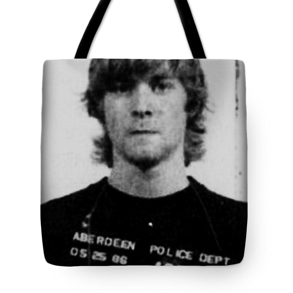 Kurt Cobain Tote Bag featuring the painting Kurt Cobain Mug Shot Vertical Black And Gray Grey by Tony Rubino