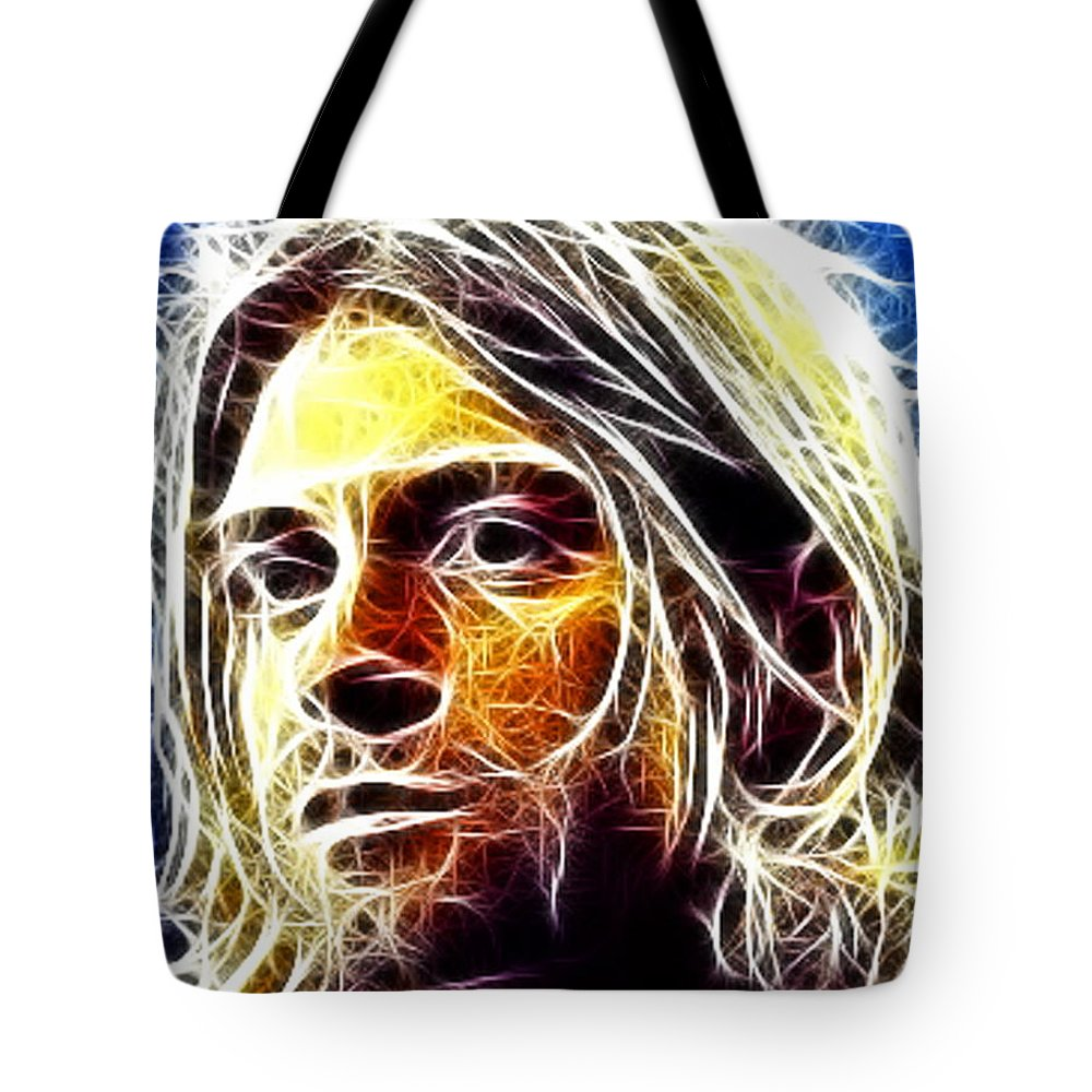Nirvanna Tote Bag featuring the mixed media Kurt Cobain by Paul Van Scott