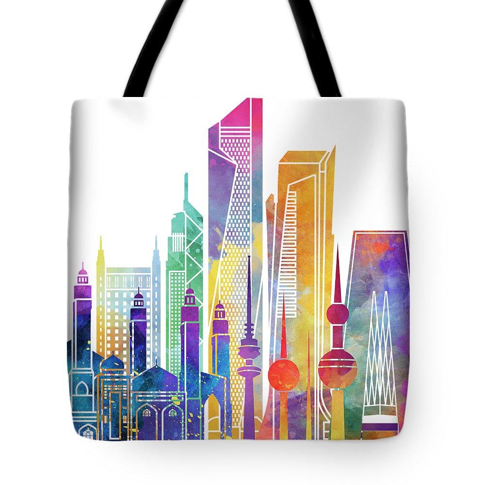 Kuwait City Landmarks Watercolor Poster Tote Bag