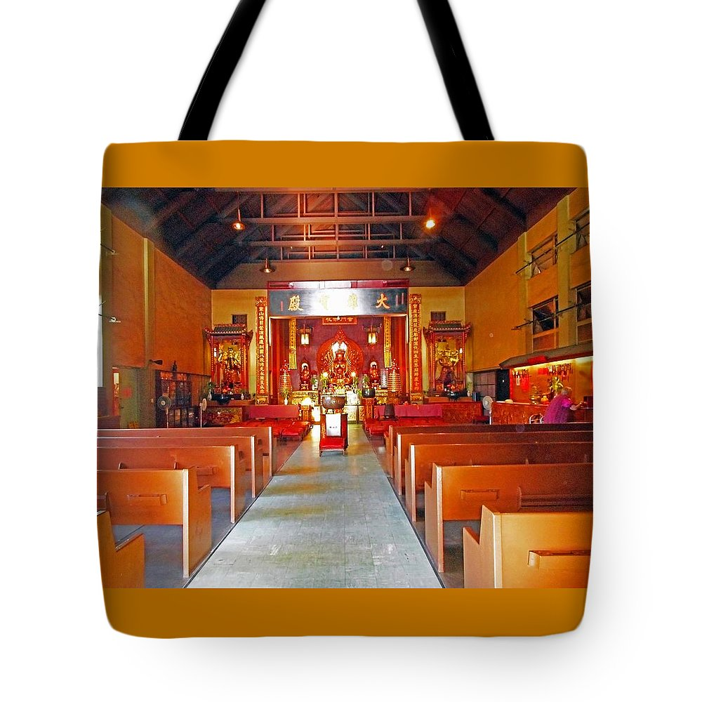 Honolulu Tote Bag featuring the photograph Kwon Yin Temple 2 by Ron Kandt