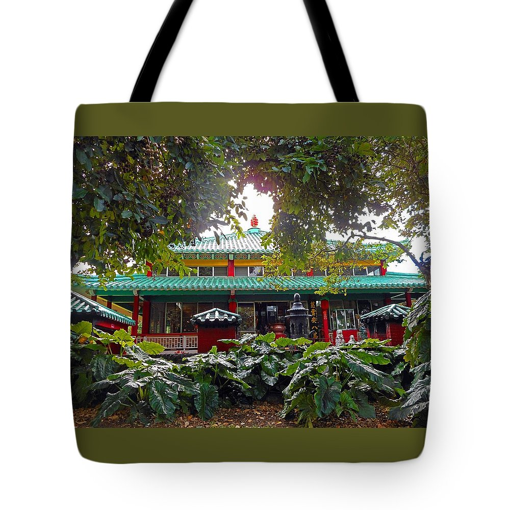 Honolulu Tote Bag featuring the photograph Kwon Yin Temple 5 by Ron Kandt