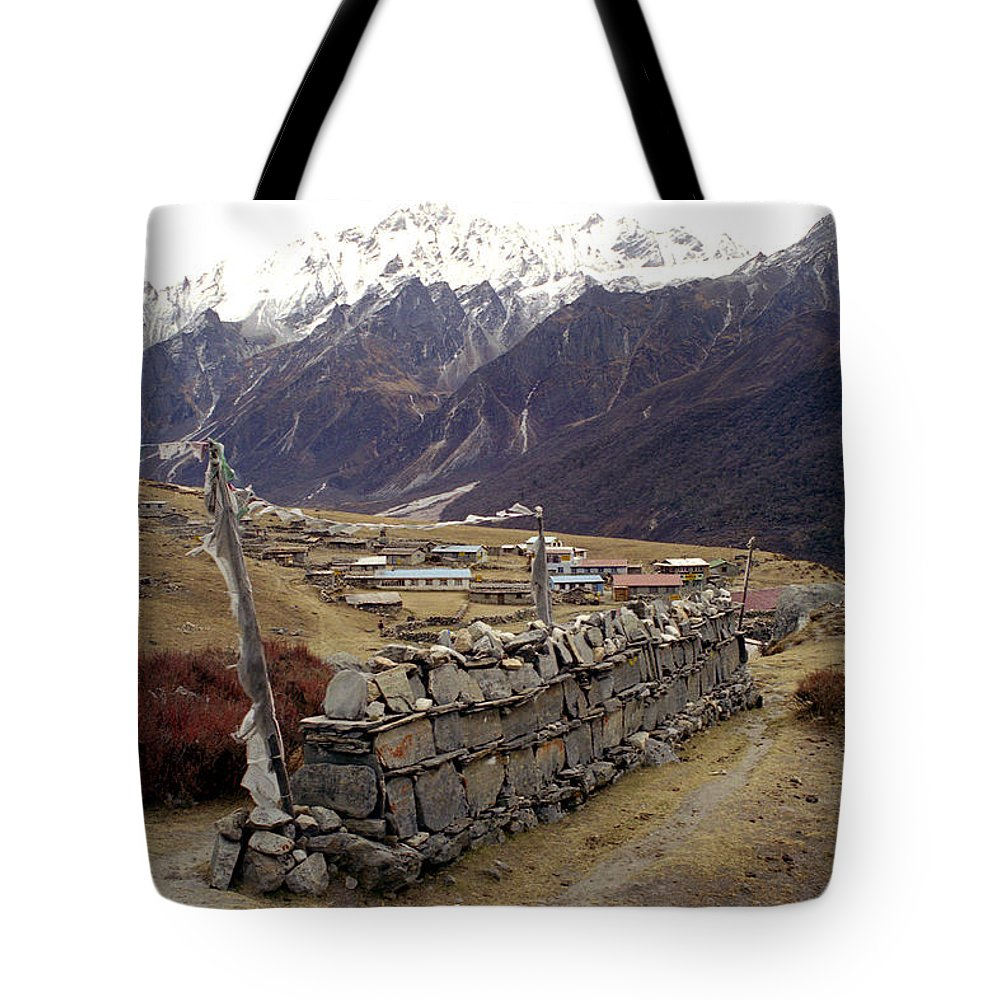 Langtang Tote Bag featuring the photograph Kyanjin Gompa by Patrick Klauss