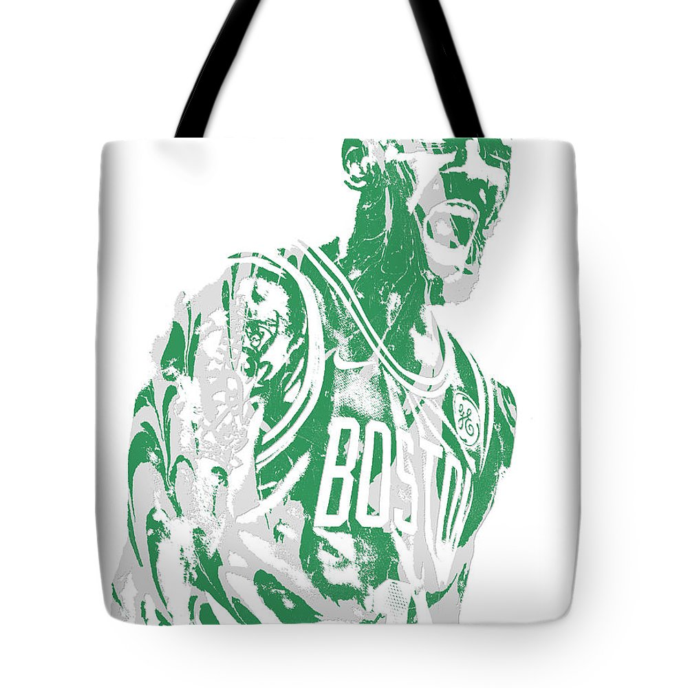 Kyrie Irving Tote Bag featuring the mixed media Kyrie Irving Boston Celtics Pixel Art 42 by Joe Hamilton