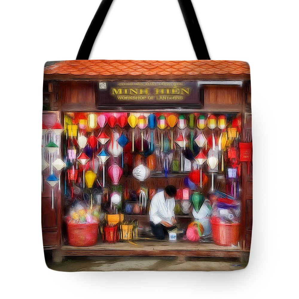 Lampion Tote Bag featuring the photograph L A M P I O N - S H O P by Thomas Herzog