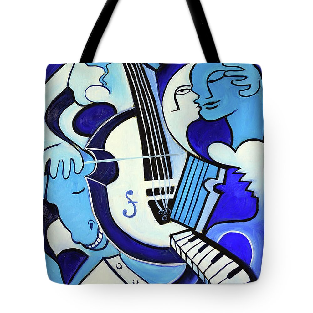 Abstract Tote Bag featuring the painting L amour ou quoi 2 by Valerie Vescovi