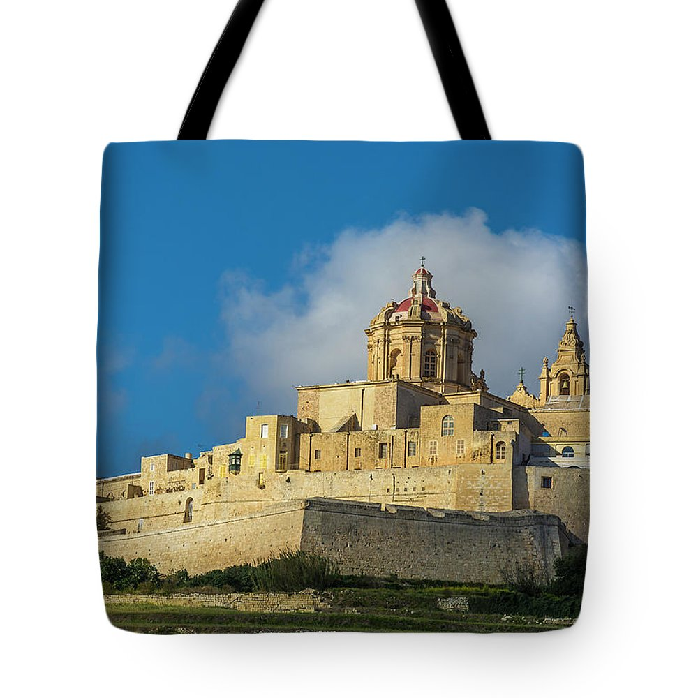 Malta Tote Bag featuring the digital art L-imdina Castle City Cathedral And Walls by Tsafreer Bernstein