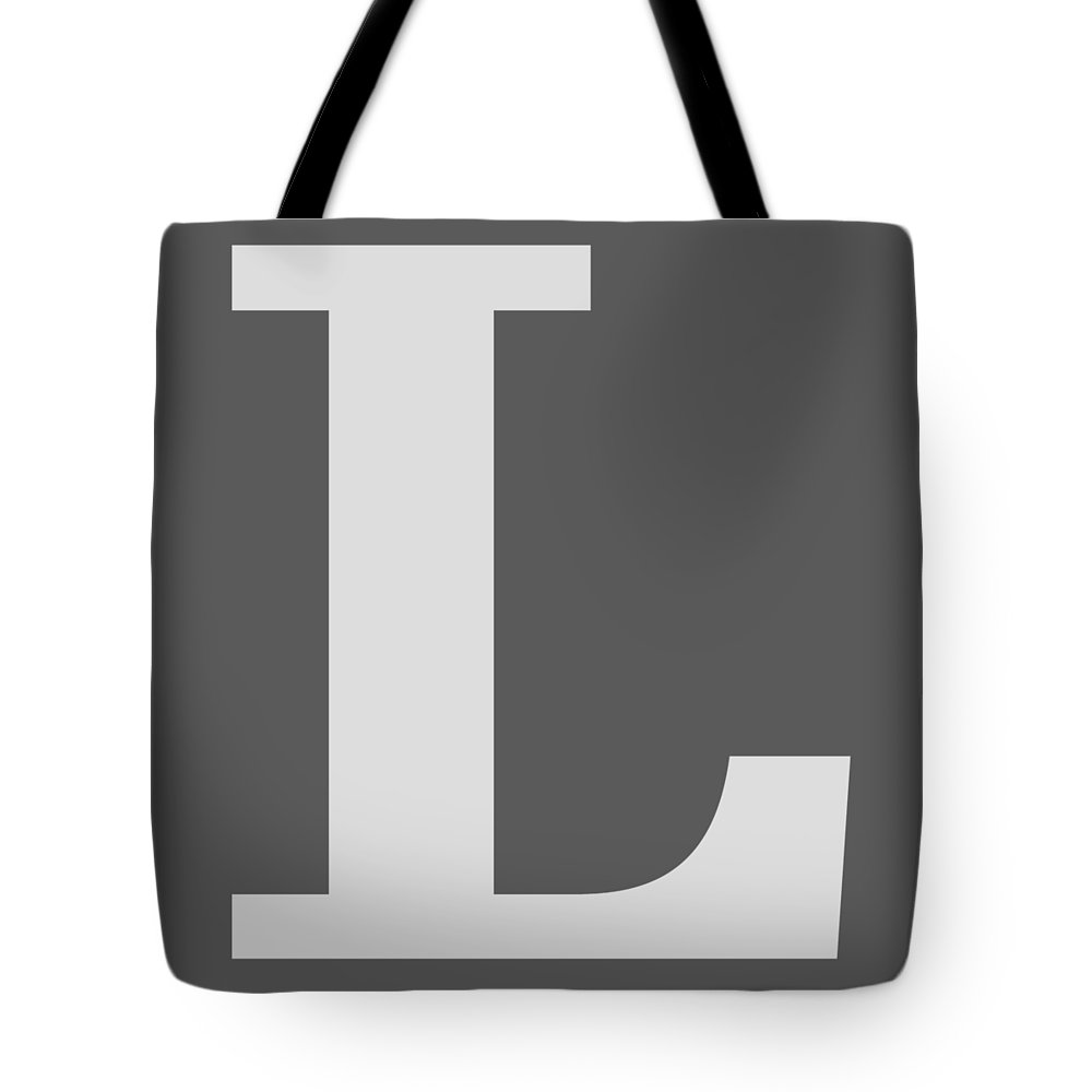 L Tote Bag featuring the digital art L In Light Gray Typewriter Style by Custom Home Fashions