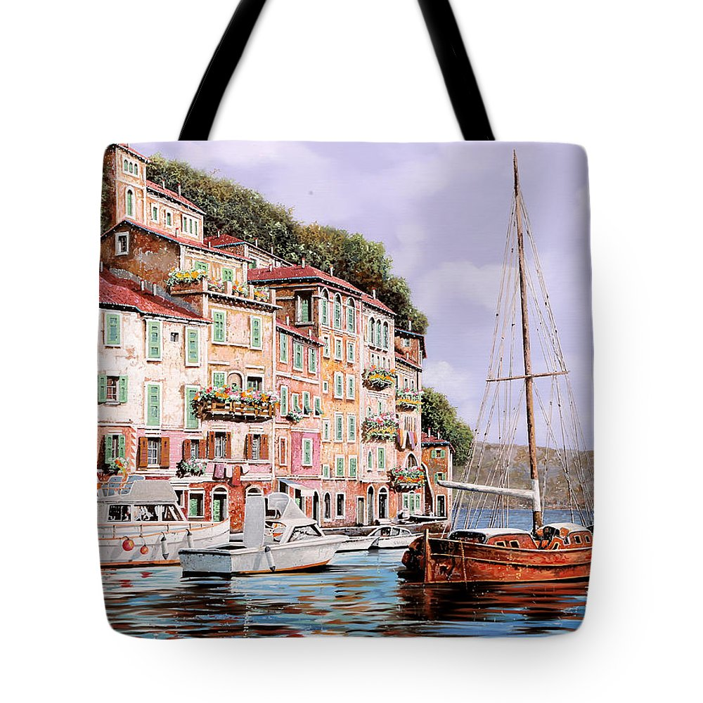 Landscape Tote Bag featuring the painting La Barca Rossa Alla Calata by Guido Borelli