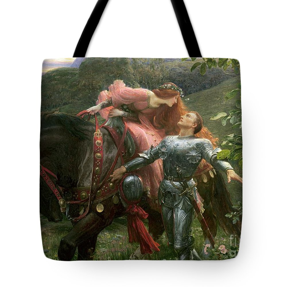 Belle Tote Bag featuring the painting La Belle Dame Sans Merci by Sir Frank Dicksee
