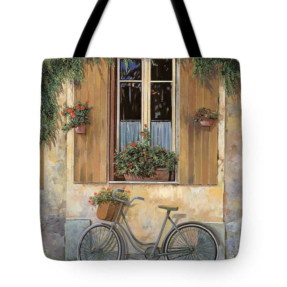 Bike Tote Bag featuring the painting La Bicicletta by Guido Borelli