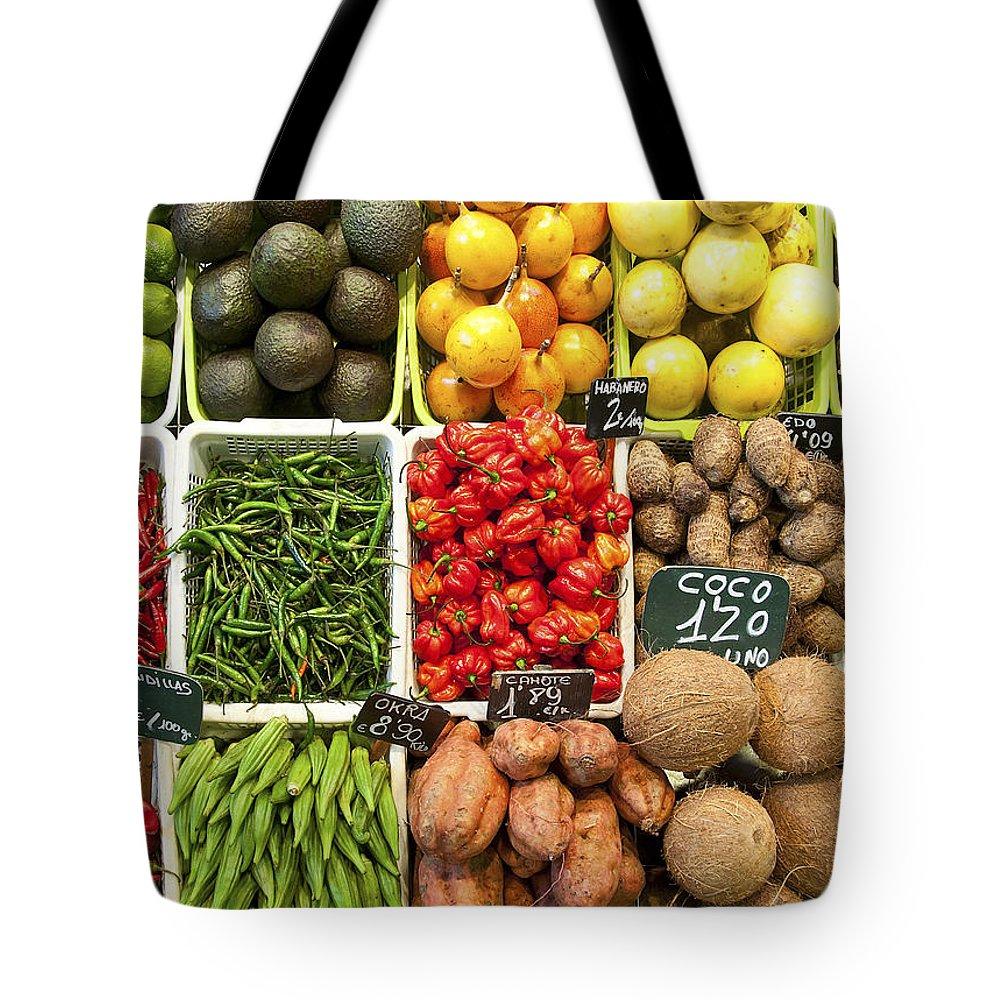 La Baqueria Tote Bag featuring the photograph La Boqueria Produce by Steven Sparks