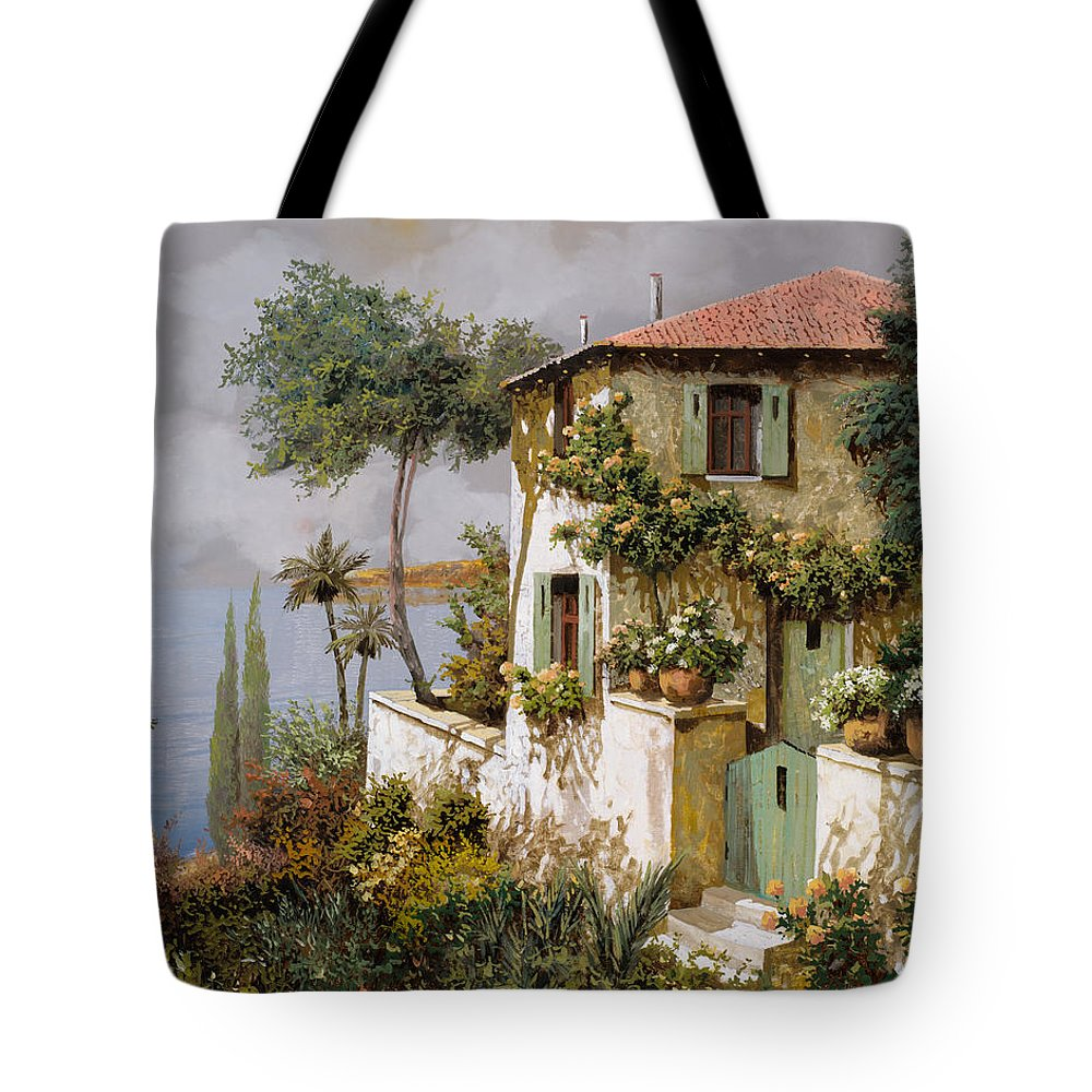 Llandscape Tote Bag featuring the painting La Casa Giallo-verde by Guido Borelli