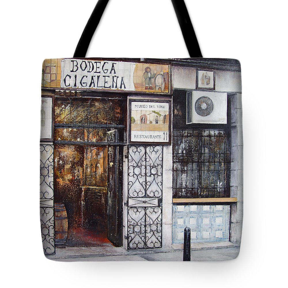 Bodega Tote Bag featuring the painting La Cigalena Old Restaurant by Tomas Castano