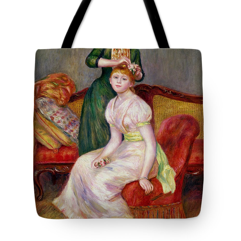 Coiffure Tote Bag featuring the painting La Coiffure by Renoir