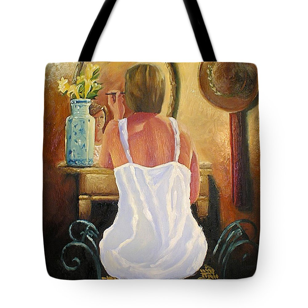 People Tote Bag featuring the painting La Coqueta by Arturo Vilmenay