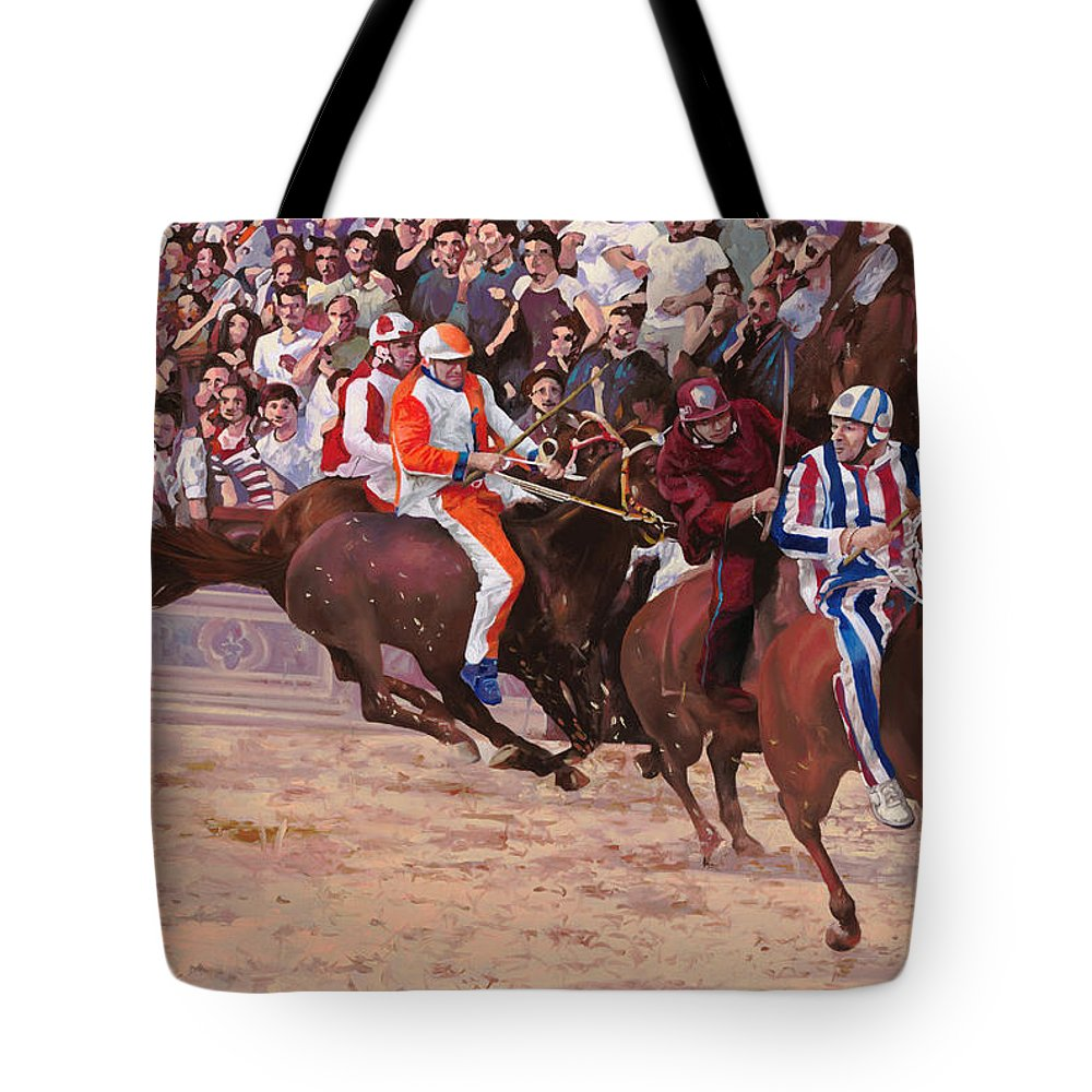 Italy Tote Bag featuring the painting La Corsa Del Palio by Guido Borelli