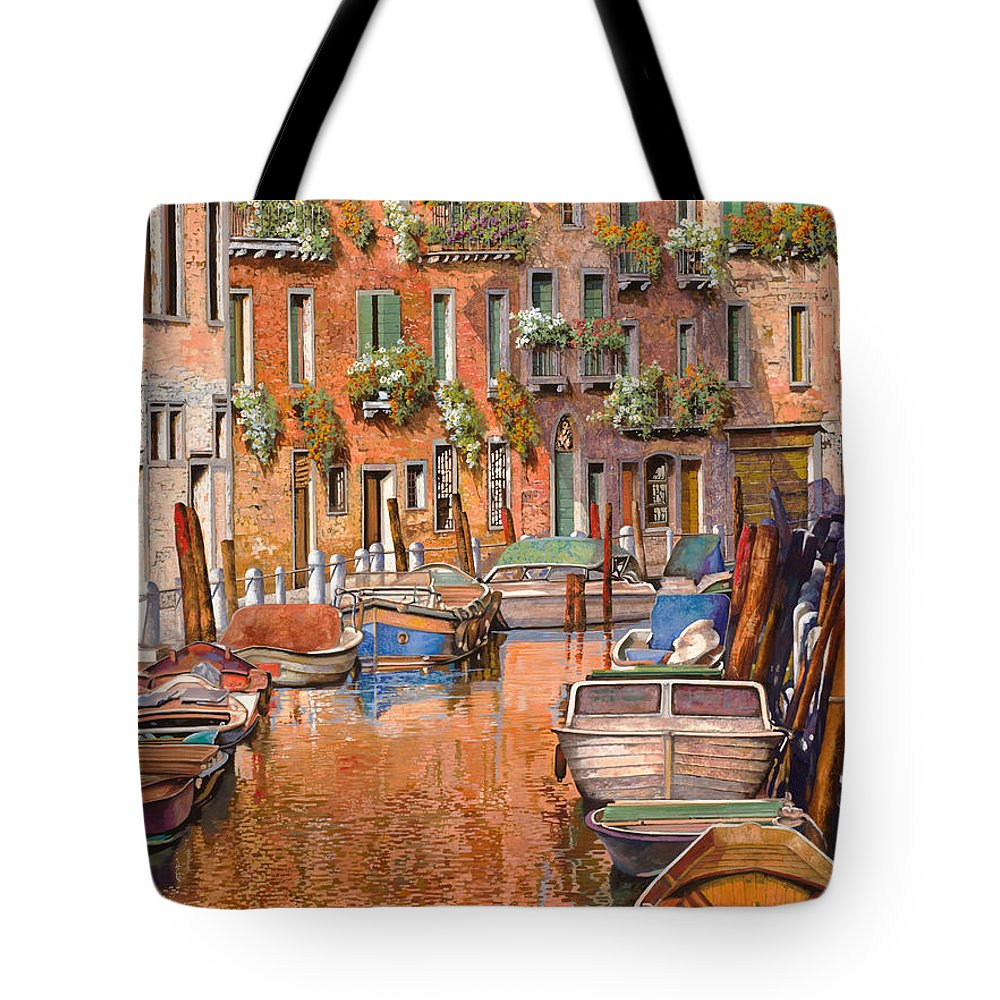Venice Tote Bag featuring the painting La Curva Sul Canale by Guido Borelli