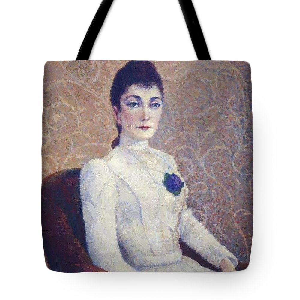 La Tote Bag featuring the painting La Dame La Robe Blanche 1886 by DuboisPillet Albert