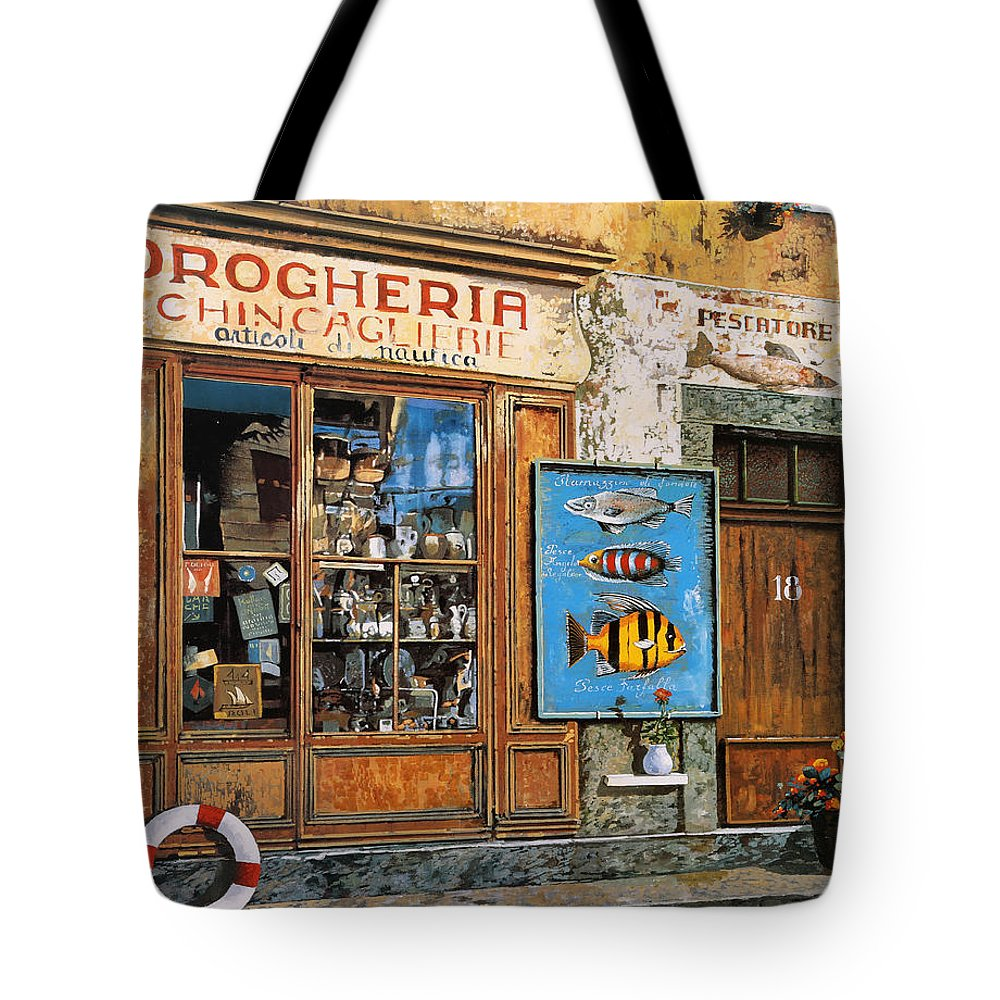 Fish Shop Tote Bag featuring the painting La Drogheria by Guido Borelli