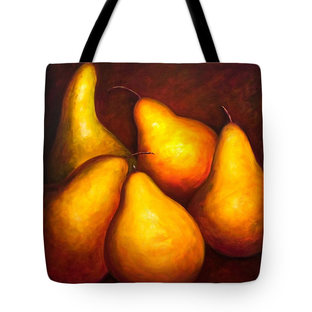 Still Life Yellow Tote Bag featuring the painting La Familia by Shannon Grissom