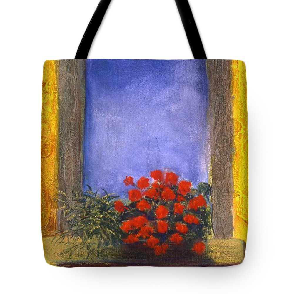 Colorful Tote Bag featuring the painting La Finstra Con I Fiori by Mary Erbert