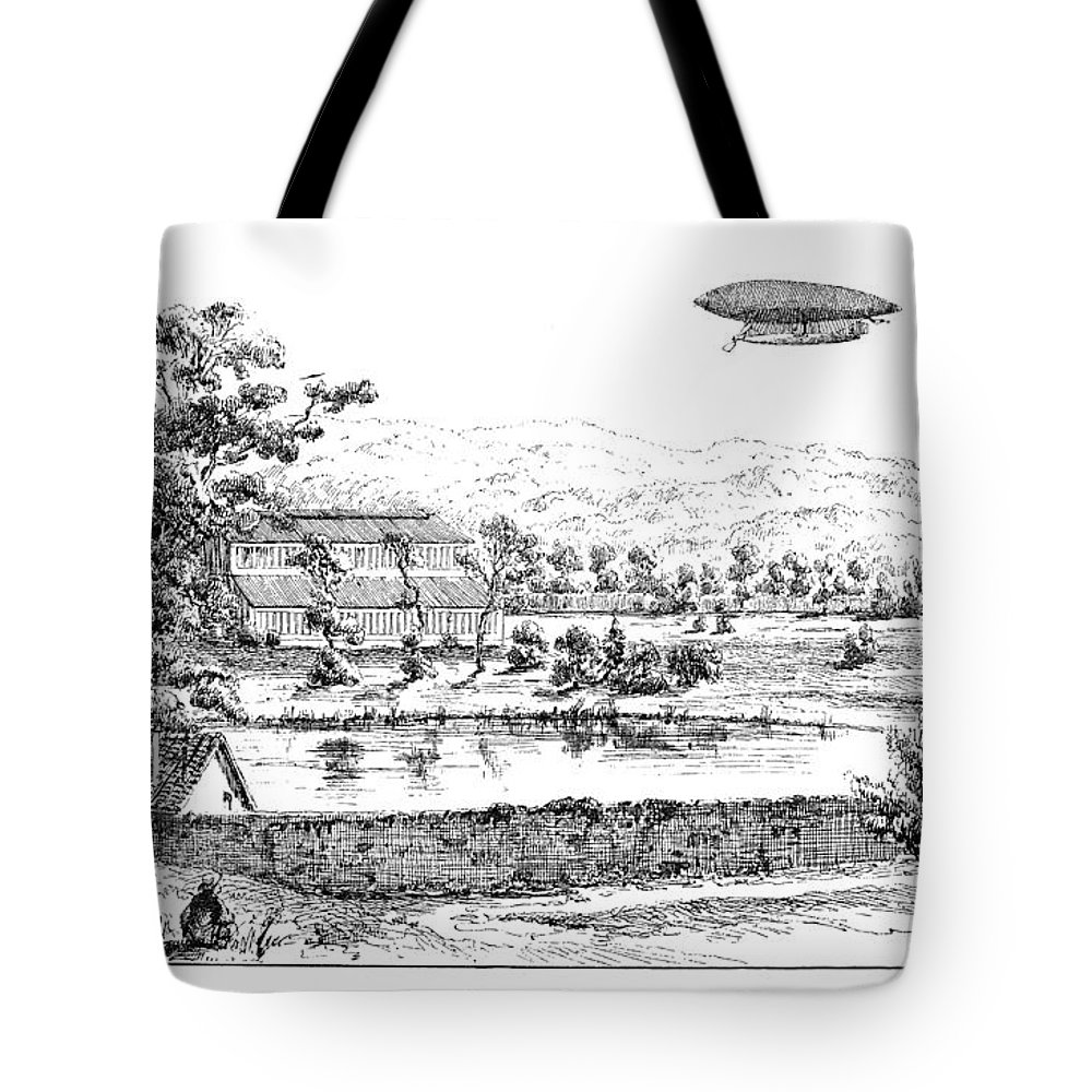 1884 Tote Bag featuring the photograph La France Airship, 1884 by Granger