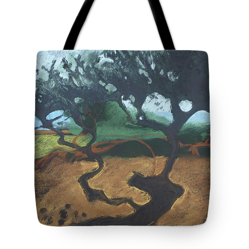 Contemporary Tree Landscape Tote Bag featuring the drawing La Jolla I by Leah Tomaino