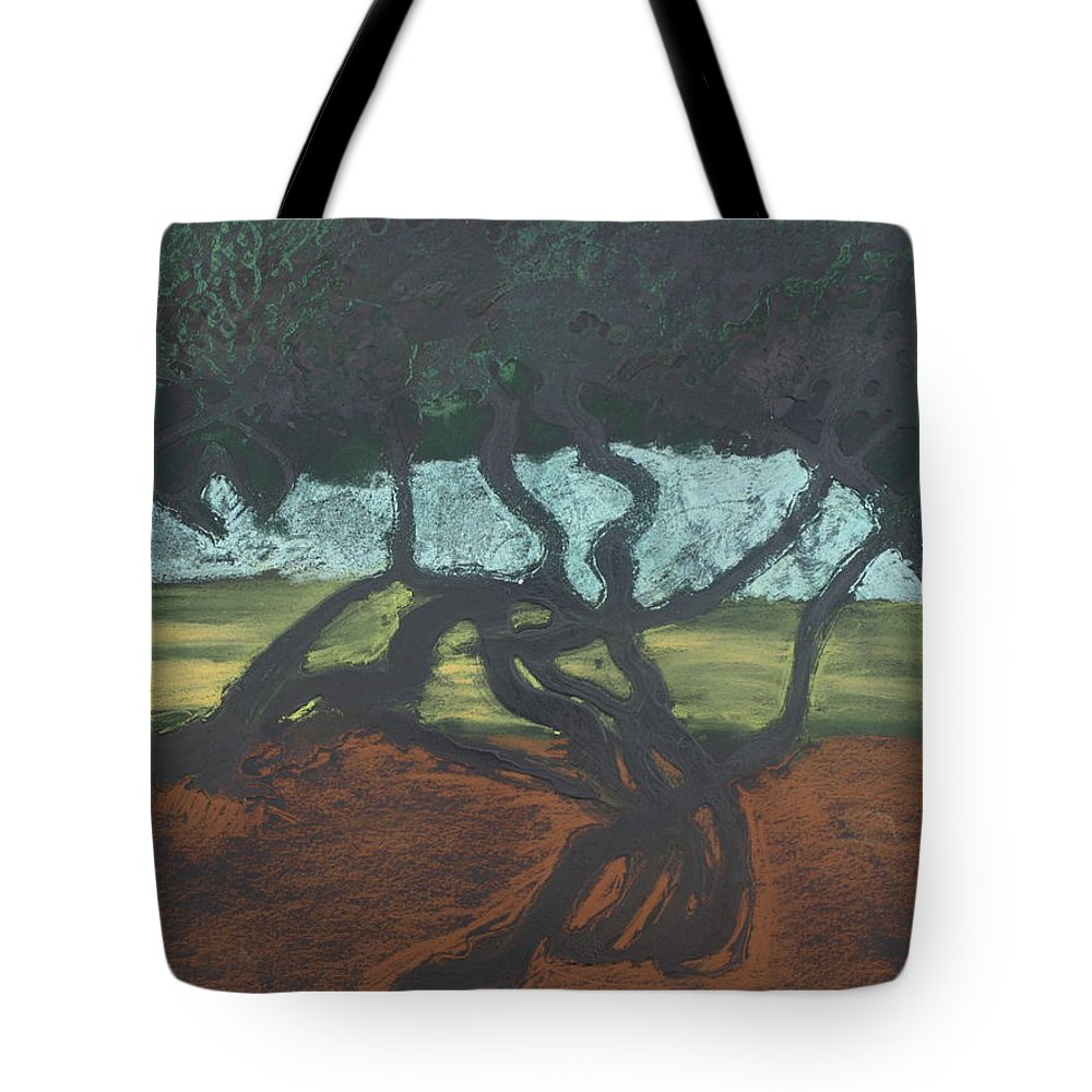 Contemporary Tree Landscape Tote Bag featuring the mixed media La Jolla II by Leah Tomaino