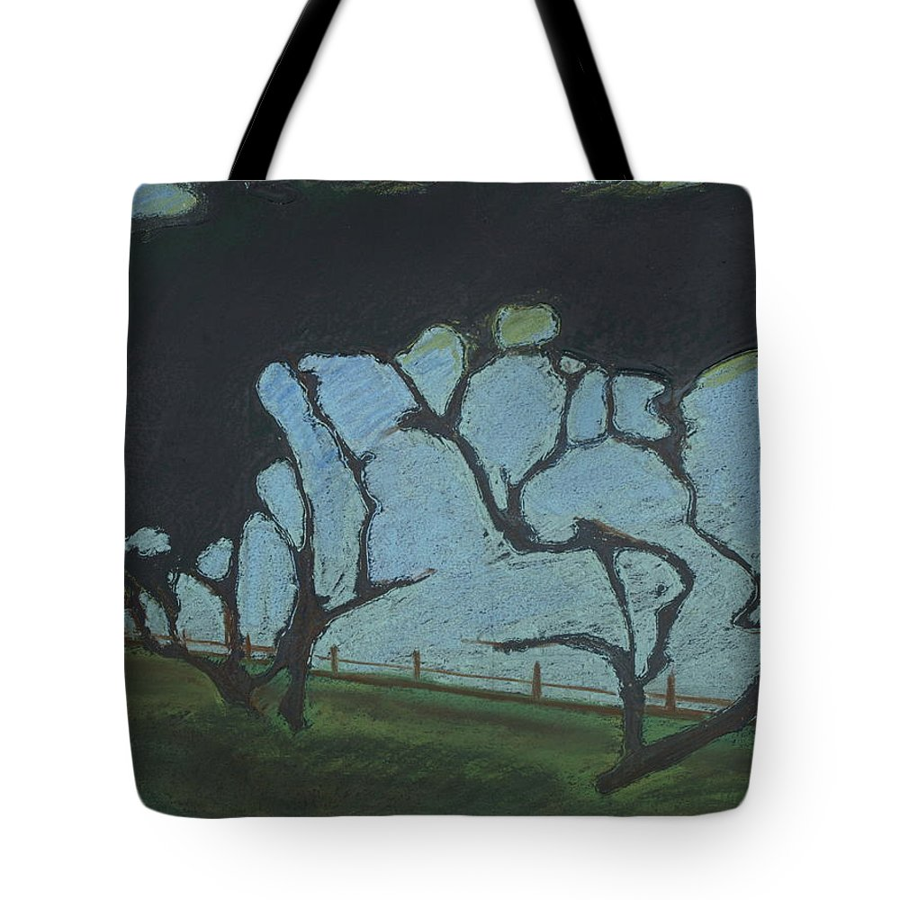 Contemporary Tree Landscape Tote Bag featuring the mixed media La Jolla IIi by Leah Tomaino