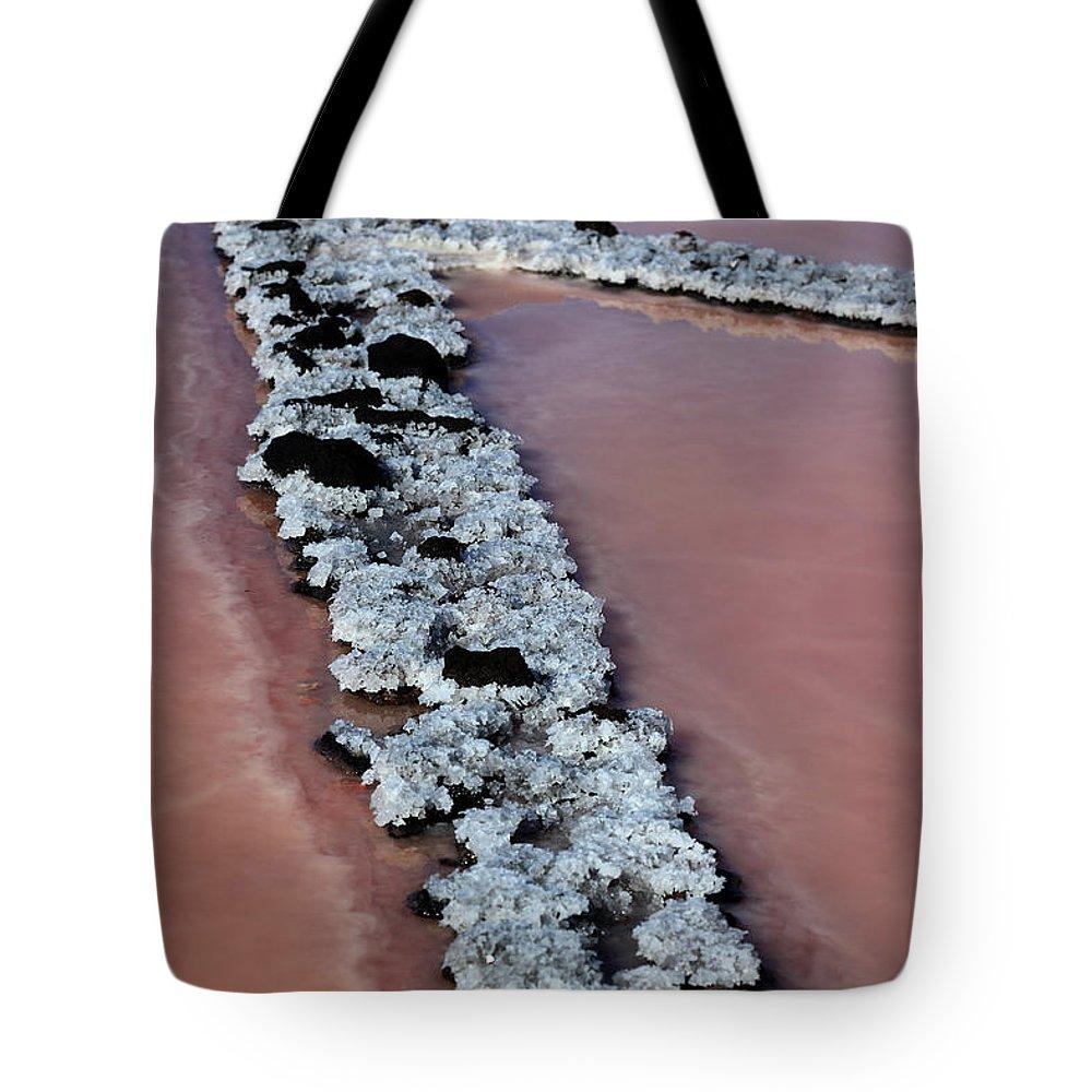 Palma Tote Bag featuring the photograph La Palma, Canary Island, Red Algae, Dunaliella Salina In The Crystallization Basin by Heinz Tschanz-Hofmann