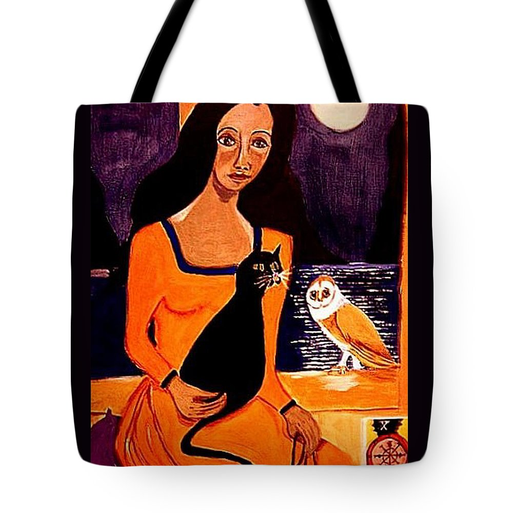 Occult Tote Bag featuring the painting La Papesse by Rusty Gladdish
