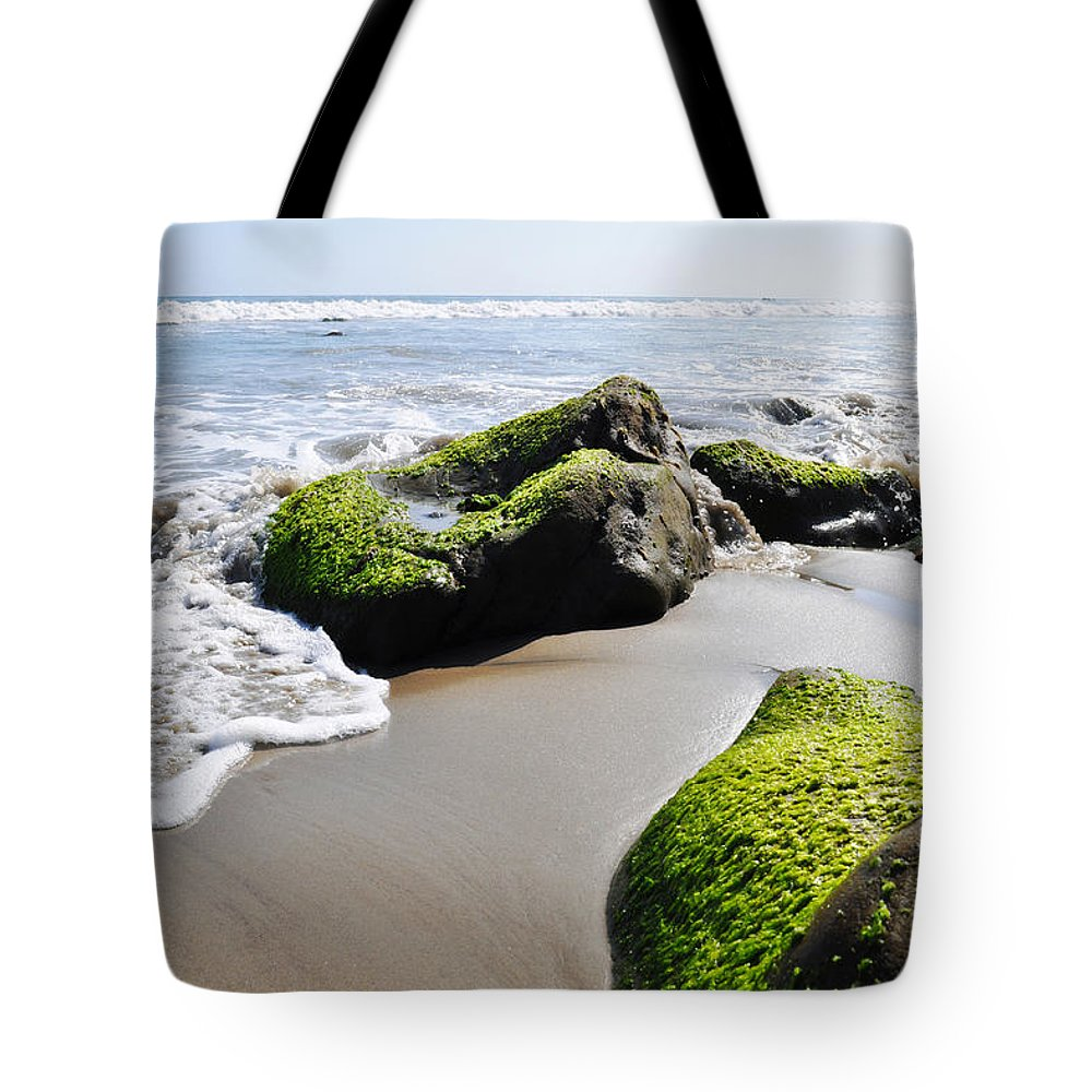 La Piedra State Beach Tote Bag featuring the photograph La Piedra Shore Malibu by Kyle Hanson