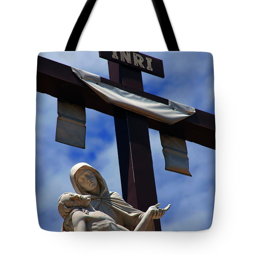 Mother Mary Tote Bag featuring the photograph La Pieta by Susanne Van Hulst