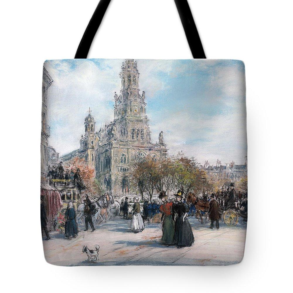 Paris Tote Bag featuring the pastel La Place De Trinite by Jean Francois Raffaelli