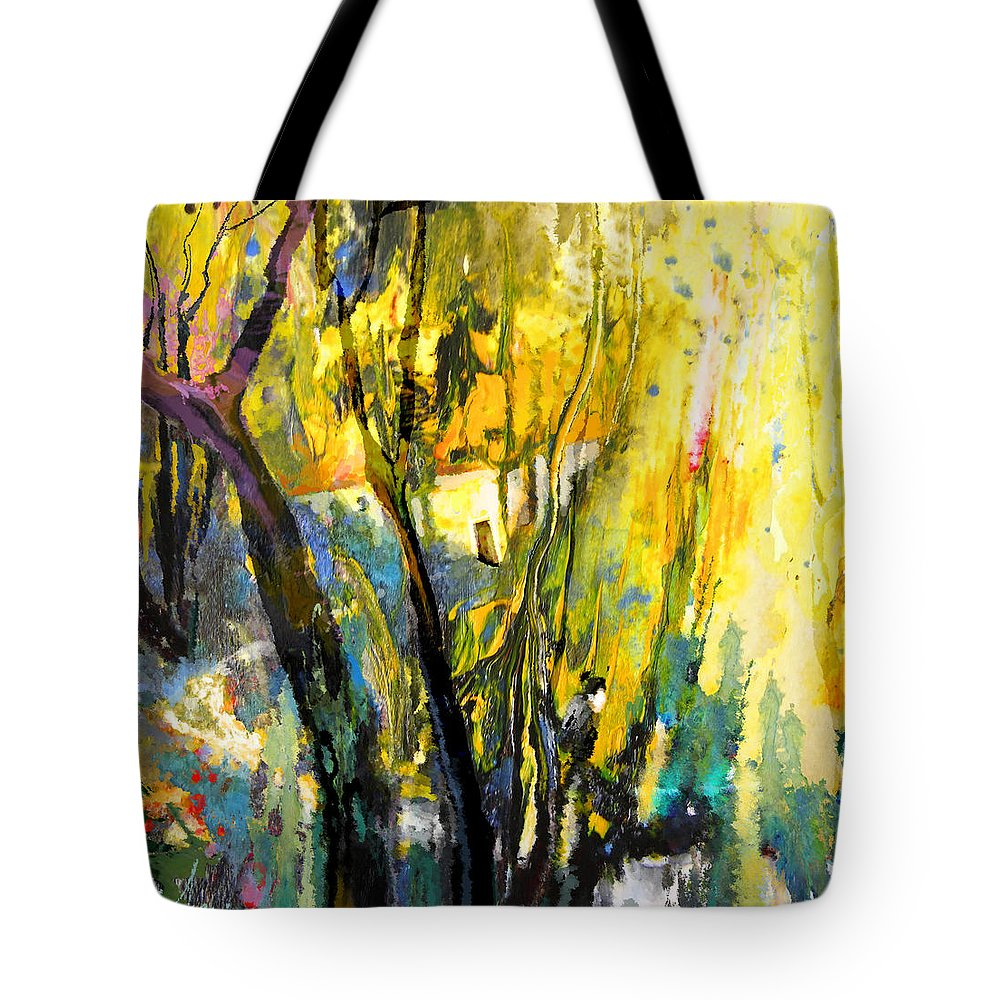 Acrylics Tote Bag featuring the painting La Provence 21 by Miki De Goodaboom