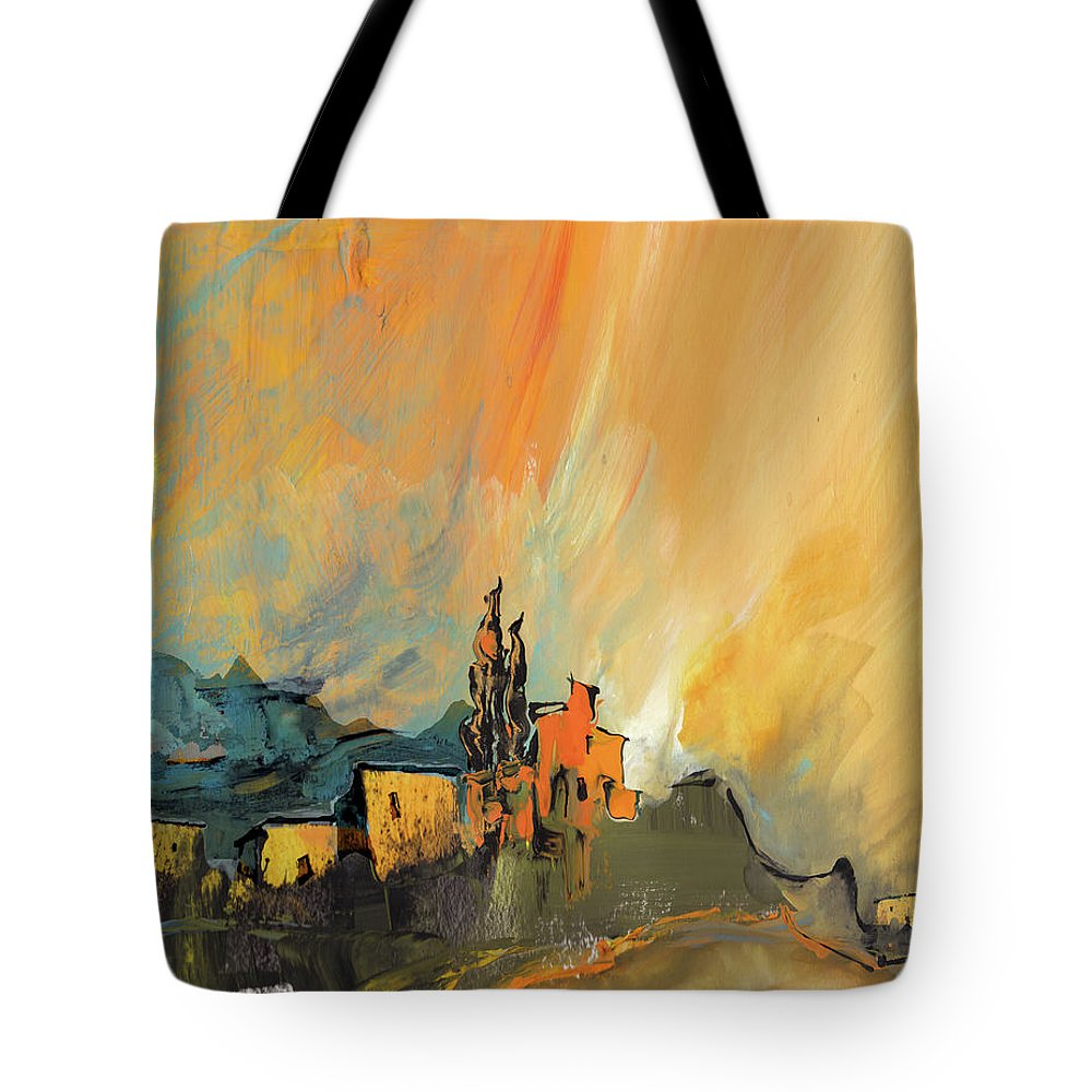 Landscapes Tote Bag featuring the painting La Provence 25 by Miki De Goodaboom