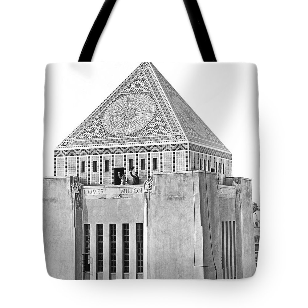 1920s Tote Bag featuring the photograph La Public Library Tower Mosaic by Underwood Archives