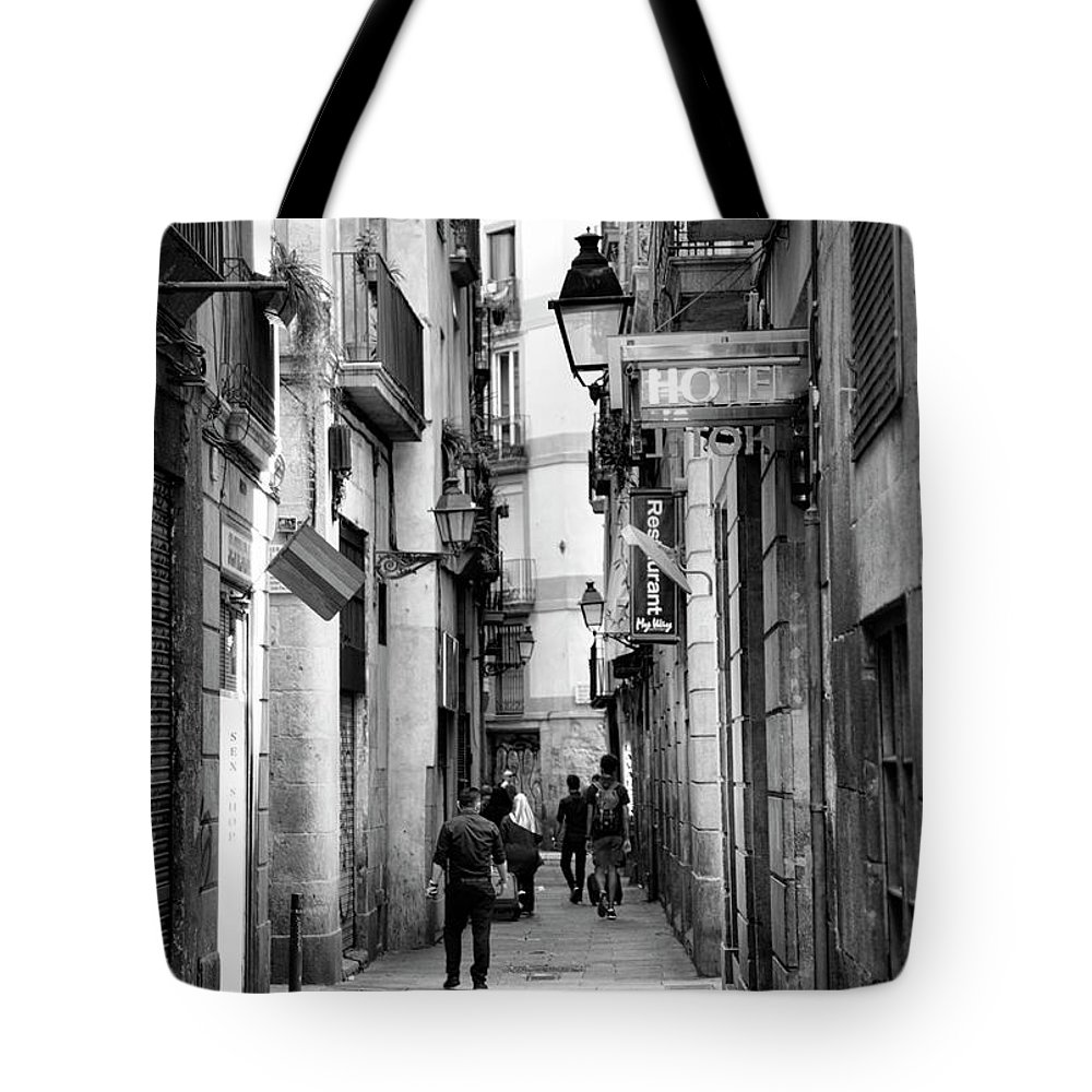 Light Tote Bag featuring the photograph La Rambia Bw Street Gothic Quarter Narrow People by Chuck Kuhn