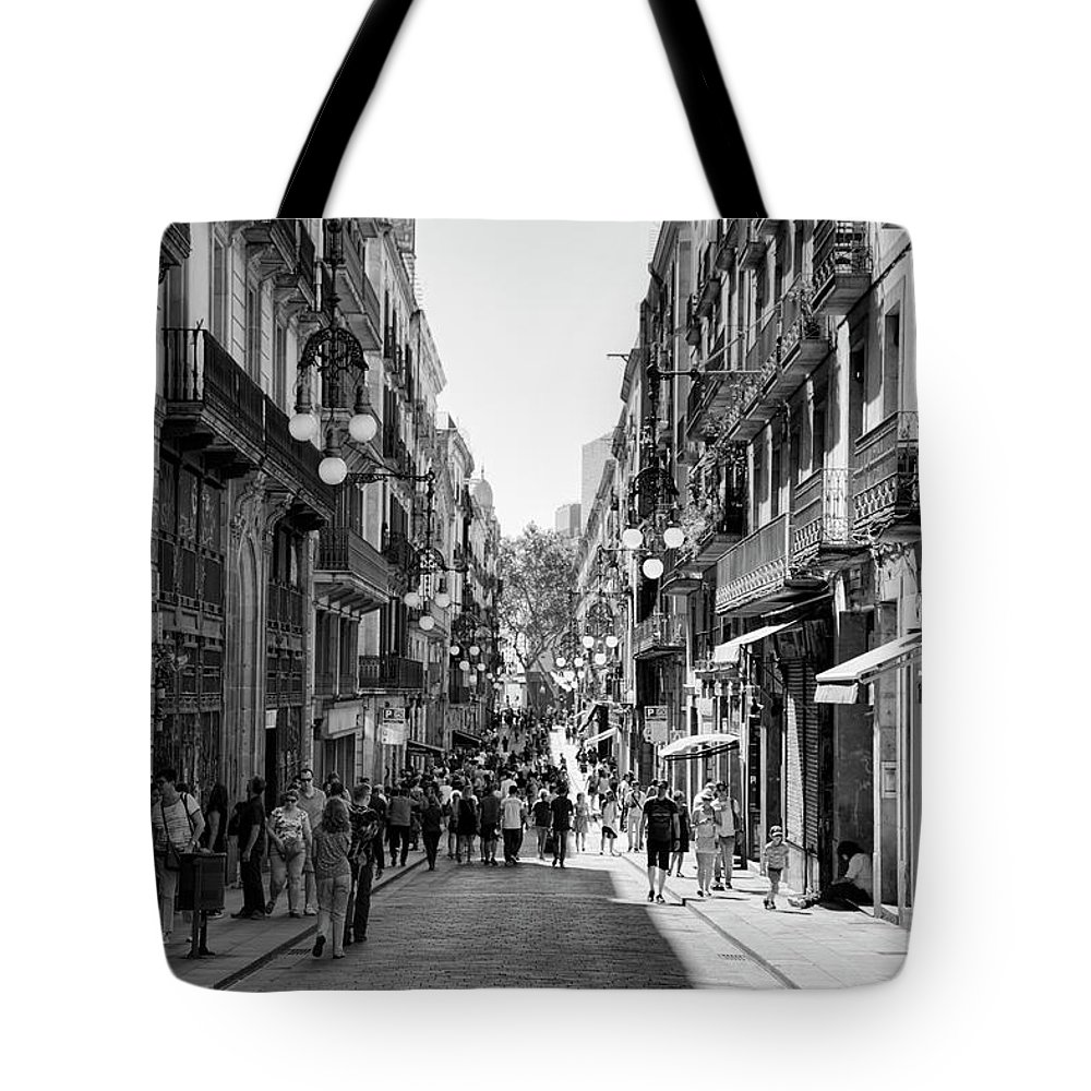 Light Tote Bag featuring the photograph La Rambia Bw Streets by Chuck Kuhn