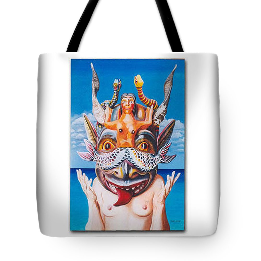 Hyperrealism Tote Bag featuring the painting La Sirena by Michael Earney