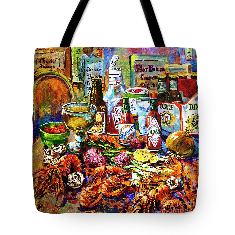 Louisiana Seafood Tote Bag featuring the painting La Table De Fruits De Mer by Dianne Parks